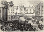 Antique illustration of Prince of Wales arrival in Dublin, Ireland. Created by Blanchard and Joliet, published on L'Illustration, Journal Universel, Paris, 1868