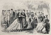 Old illustration of springtime fashion 1868 in Paris. Original, created by Pauquet, was published on