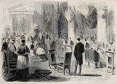 Old illustration of Prince Imperial Eugene Louis Napoleon Bonaparte First Communion in Tuilieries ch