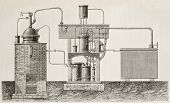 Antique illustration of absorption cooling apparatus invented by Ferdinand Carre. Original, drawing,