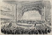 Antique illustration of presidential electoral meeting in Chicago Opera theater. Created by Gaildrau and Cosson-Smeeton, published on L'Illustration, Journal Universel, Paris, 1868