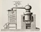 Old schematic illustration of a brass alembic. Original, by unknown author, was published on L'Eau,
