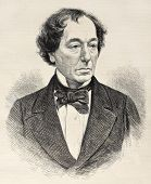Old engraved portrait of Benjamin Disraeli, British conservative statesman. Created by Loudon, publi