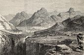 Old view of Ankober, central Ethiopian locality. Created by Loudon, published on L'Illustration, Jou