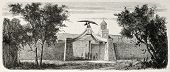 The gate of Brigham Young's residence,  American leader in the Latter Day Saint movement, in Salt Lake City, Utah. Created by Janet-Lange, published on L'Illustration, Journal Universel, Paris, 1868