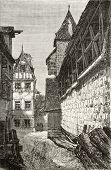 Old illustration of alley next to the bastion in Nuremberg castle (Burg), Germany. Created by Therond, published on Le Tour du Monde, Paris, 1864