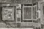 Old illustration of Exedra in House of Siriacus in Pompeii, southern Italy. Created by Therond and M