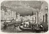 Old illustration of Daniele Manin's funeral procession along Grand Canal, Venice, Italy. Created by