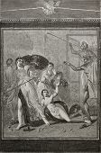 Achilles in female semblances caught by Odysseus among Lycomedes' daughters. Fresco in House of Paquius Proculus, Pompeii, Italy. By Therond and Bertrand, publ. on Le Tour du Monde, Paris, 1864