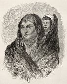 Old illustration of Sioux woman carrying child on her shoulder. Created by Lancelot, published on Le