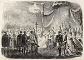 Old illustration of Princess Marie Valerie Mathilde of Austria christening. By Janet-Lange and Cosso