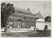 British legation main entrance in Beijing. Created by Therond, published on Le Tour du Monde, Paris,