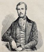 Old engraved portrait of  Edouard Thouvenel, French Minister of foreign affairs. Original, from draw