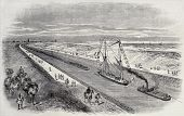 Antique illustration of a ship convoy sailing through Suez canal. Original, from drawing of Blanchar