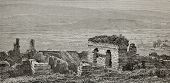 Old illustration of Ephesus gymnasium ruins, Turkey. Created by Gaiaud, published on Le Tour du Mond