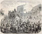 Old illustration of  Pierre-Jean de Beranger funeral, French poet and songwriter. Created by Marc, p