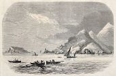 Old illustration of Gulf of La Spezia mouth, Italy. By unidentified author, published on L'Illustration Journal Universel, Paris, 1857