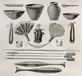 Old illustration of  natives Antis pottery, weapons and ornaments, Peru. Created by Riou, published