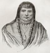 Old Sioux warrior engraved portrait. Created by Lancelot, published on Le Tour du Monde, Paris, 1864