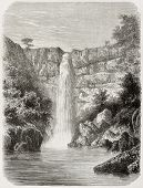 Old illustration of Reb river falls, Abyssinia. Created by De Bar, published on Le Tour du Monde, Pa