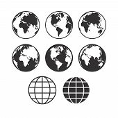 Vector World Map Icons. Globe Icons. Set Of Vector Globe Earth Icons. poster