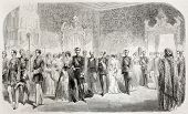 Grand Duke Michael Nicolaevich of Russia engagement with Pincess Cecily of Baden in Peterhof palace, Saint Petersburg. Created by Blanchard, published on L'Illustration Journal Universel, Paris, 1857
