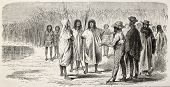 Old illustration of presentation between natives peruvian and westerners. Created by Riou, published on Le Tour du Monde, Paris, 1864