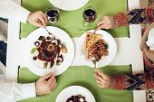 Top View Of A Romantic Dinner For Young Guys. Romantic Dinner Couples In Love In A Restaurant. The C poster