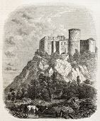Old illustration of Chateau de Falaise, in the Calvados department of Normandy, France. Created by Bertrand, published on Magasin Pittoresque, Paris, 1850