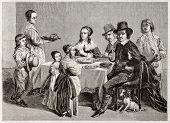 Old illustration of family meal. Created by Janet-Lange (sculp. Best, Hotelin and Regnier) after pai