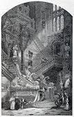 Old illustration of Golden Staircase (Escalera Dorada) in Burgos cathedral, Spain. Created by Robert