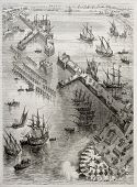 Siege of La Rochelle: view of Richelieu breakwater built by Du Plessis and Vassal. Created by Rouarg