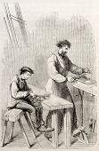 Vieja ilustración de los hombres en una fábrica de la aguja. Autor no identificado, publicada en Magasin Pit