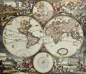 Old map of world hemispheres. Created by Frederick De Wit, published in Amsterdam, 1668