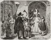 Old illustration of Christmas Queen, traditional English custom.  By unidentified author, published