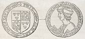Old illustration of a medal in honour of Aymar de Prie, Grand Master crossbowman. By unidentified au