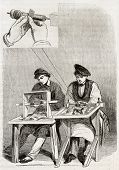 Old illustration of burnishing workshop in antique needle factory. By unidentified author, published