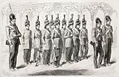 Old illustration of amazons in Hyderabad, body guards of royal harem. Created by Soltikoff, published on L'Illustration Journal Universel, Paris, 1857