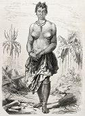 Old engraved portrait of a girl in Grand-Bassam, Cote d'Ivoire. Created by Worms, published on L'Ill