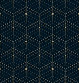 The Geometric Pattern With Lines. Seamless Background. Blue And Gold Texture. Graphic Modern Pattern poster