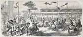 Old illustration of theatrical set in Paris racecourse. Created by Worms, published on L'Illustration, Journal Universel, Paris, 1857