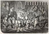 Procession of the Mughal Emperor Bahadur Shah II at Delhi, exiled to Rangoon by the British after the Indian revolt. De Rudder after Saltuikov, publ. on L'Illustration, Journal Universel, Paris, 1857