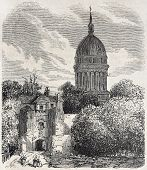 Old view of the dome of Notre-Dame de Boulogne Basilica. Created by Sauvageot, published on L'Illust