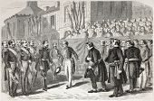 Old illustration of Strasbourg prefect introducing Bas.Rhin majors to Emperor Napoleon III. Created by lallemand, published on L'Illustration, Journal Universel, Paris, 1857