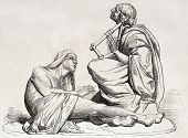 Old illustration of a statue depicting Berbers playing and listening lyre music. Created by Bartholdi, published on L'Illustration, Journal Universel, Paris, 1857