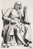 picture of crystallography  - Old illustration of a statue of Rene Just Hauy  - JPG
