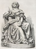 Old illustration of a statue depicting Mademoiselle de Sevigne. Sculpted by Rochet, published on L'Illustration, Journal Universel, Paris, 1857