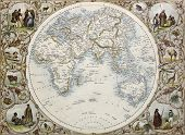 Old map of Hemisphere oriental. Created by John Tallis, published on Illustrated Atlas, London 1851