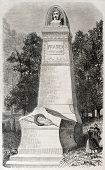 Old illustration of funereal monument of James Pradier, French sculptor. Created by Provost, publish