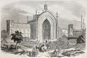 Old illustration of Rumi Darwaza gateway in Lucknow, India. Created by Freeman after photo and drawi